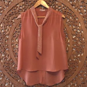 Tops - Dark peach colored sheer sleeveless blouse